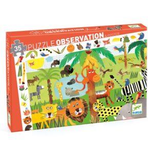 puzzle d'observation jungle 35 pieces djeco
