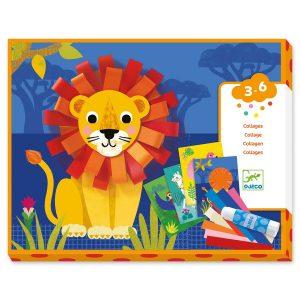 Venez découvrir le collage Avec Des Bouclettes de Djeco. L'enfant crée des boucles à l'aide de bandes de papier découpées et les colle sur son tableau. Il ajoute ensuite un élément épais pour obtenir une belle finition. L'image aura ainsi plus de relief !