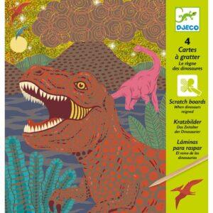 cartes a gratter le regne des dinosaures