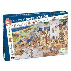 puzzle d'observation chateau fort 100 pièces djeco