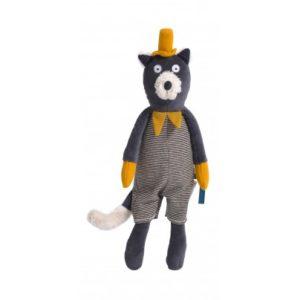 Venez découvrir Alphonse la poupée chat de chez Moulin Roty. Alphonse la poupée chat est en tissu tout doux et coloré. Très attachant avec ses grands yeux ronds et ses petites oreilles rayées, il porte une salopette en jersey rayé avec un col moutarde.