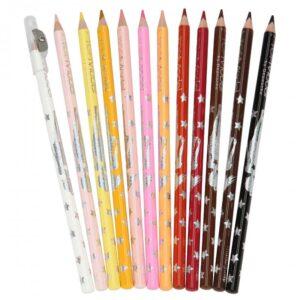 crayons de couleurs visage et cheveux