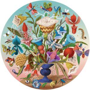puzzle rond crazy bug bouquet 500 pièces eeboo