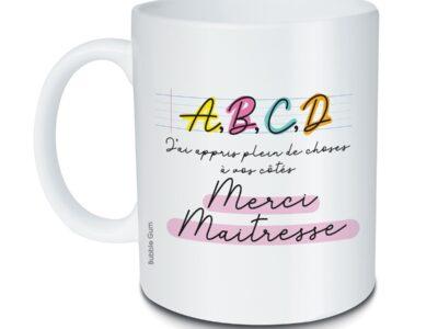 mug ABCD merci maitresse