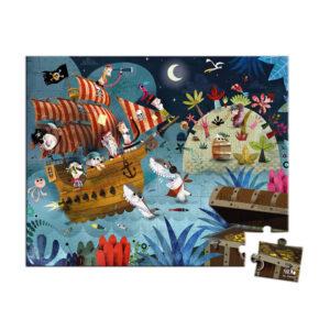Venez découvrir le puzzle la chasse au trésor , 36 pièces de Janod. Ambiance nocturne et mystérieuse pour ce puzzle mettant en scène des pirates en quête d'or et d'argent !