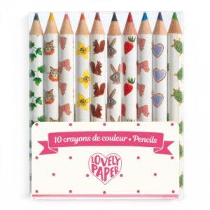 10 mini crayons de couleurs djeco