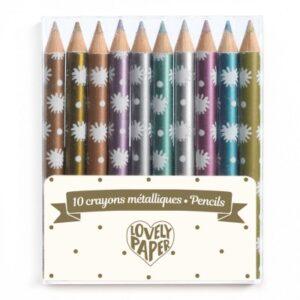 10 mini crayons métallises chocs djeco